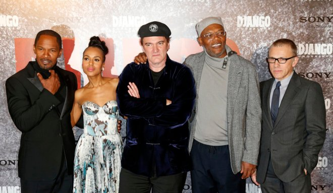 Jamie Foxx, Kerry Washington, Quentin Tarantino, Samuel L. Jackson and Christoph Waltz attend premiere of 'Django Unchained' in Paris