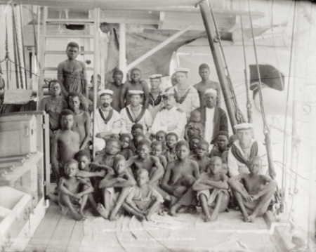 33 captured slaves on board a ship (albumen print)