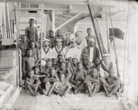 33 captured slaves on board a ship (albumen print)