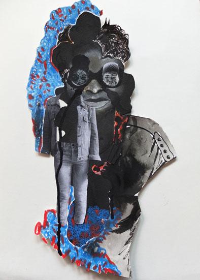 identités palimpseste, 31x41 cm, encre, crayon, collage sur papier, 2014