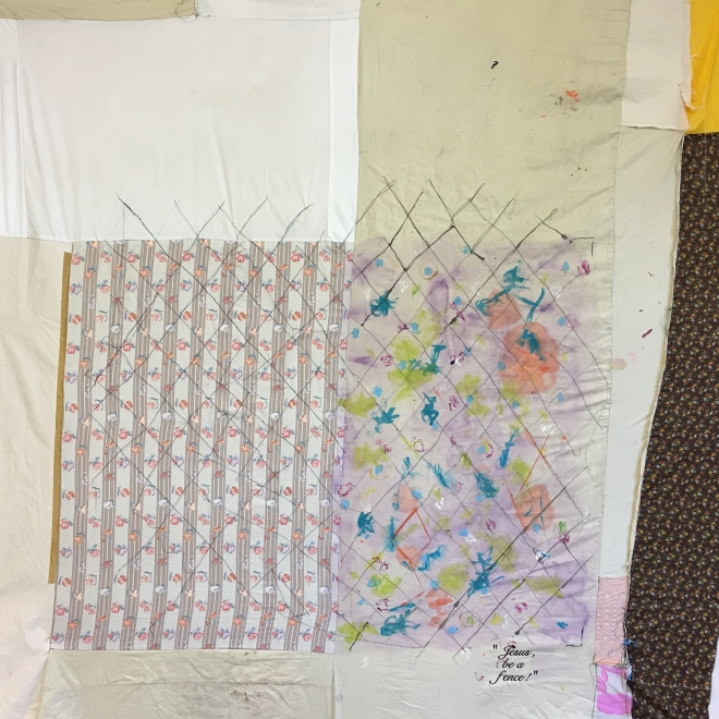 tameka-jenean-norris-jesus-be-a-fence-work-in-progress-2016-fabric-canvas-acrylic-paint-thread-58-x-58-in-courtesy-the-artist-and-ronchini-gallery
