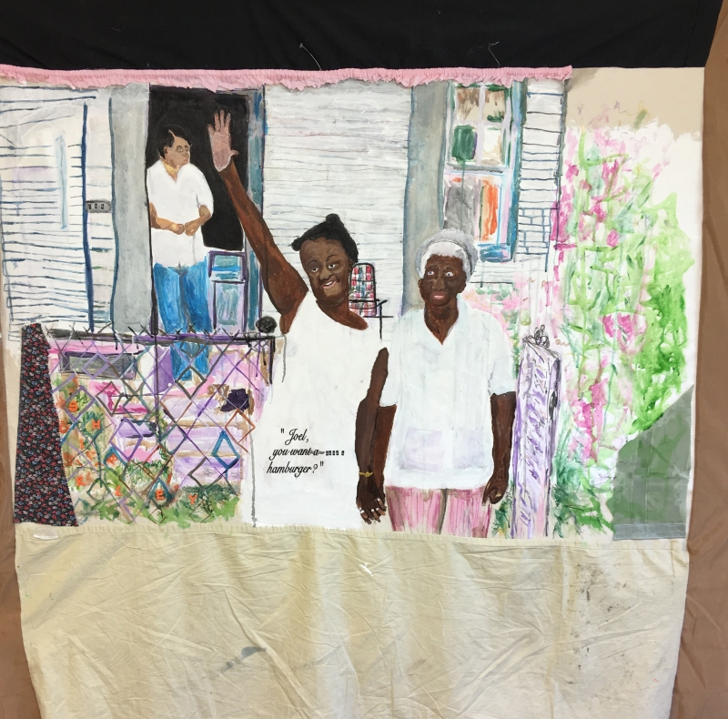tameka-jenean-norris-joel-want-a-hamburger-work-in-progress-2016-fabric-canvas-acrylic-paint-thread-oil-pastel-50-x-50in-courtesy-the-artist-and-ronchini-gallery