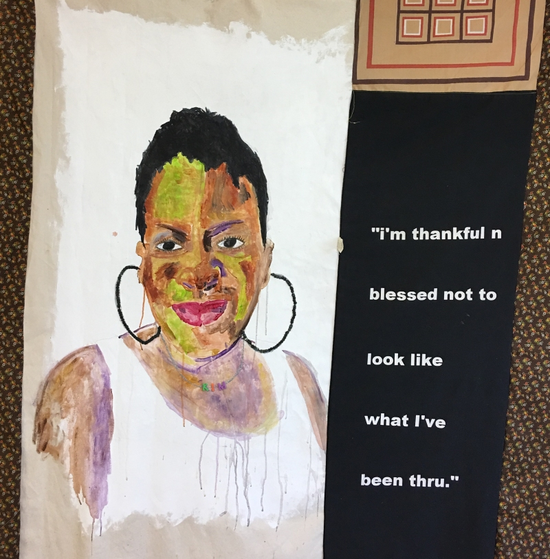 tameka-jenean-norris-kim-im-thankful-n-blessed-work-in-progress-2016-fabric-canvas-acrylic-paint-thread-50-x-50-in-courtesy-the-artist-and-ronchini-gallery