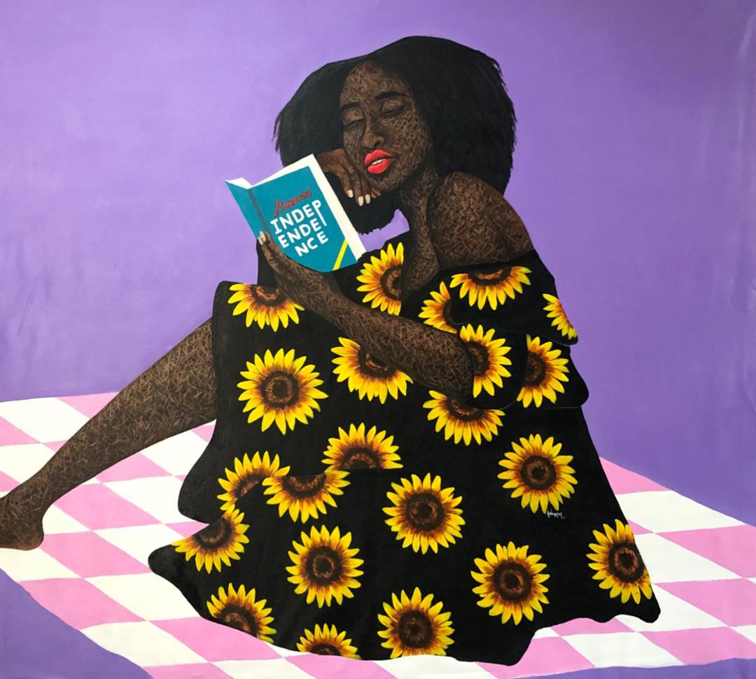 une peinture d'une femme noire qui lit un livre