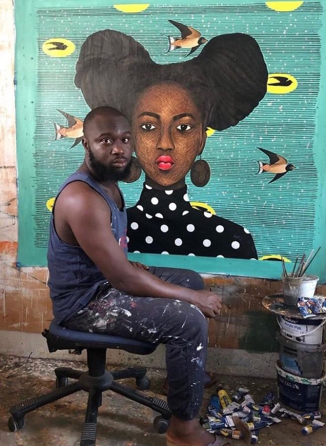L'artiste Nii Nortey Hamid dans son atelier